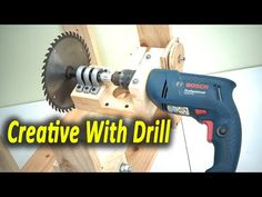 Amazing Creative With Drill - Homemade Table Saw With Drill Power - YouTube Homemade Lathe, Homemade Tables, Diy Furniture Videos, Diy Furniture Plans, Cierra Circular, Diy Phone Stand, Table Saw Jigs, Wooden Garden Benches, Craftsman Cottage
