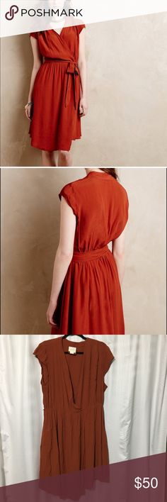 Maeve Rust Noronha Faux Wrap Dress Amazing Rust dress from anthro brand mauve. I love the fit and flow of this dress! Very comfy and perfect for business casual events or even a night out. Comes with belt sash as well. Amazing condition Anthropologie Dresses Midi