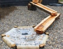 Channeled flume logs for children's water play-use existing logs? need a rain barrel?, all the water for water play! Natural Play Spaces, Outdoor Play Spaces, Kids Outdoor Play, Kids Play Area, Backyard For Kids, Outdoor Fun, Outdoor Learning, Outdoor Games, Indoor Play