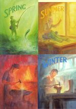 Books: Spring, Summer, Autumn, Winter (poems, songs, and stories used in the Waldorf Kindergarten).