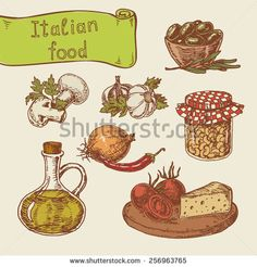 Hand-drawn vector illustrations. Set of national Italian food - stock vector