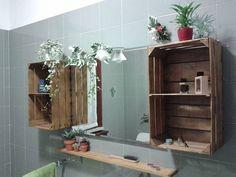 arredare il bagno con i pallet - pallet con specchio | pallets - Fai Da Te Arredo Bagno