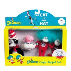 Dr. Seuss THE CAT IN THE HAT Boxed Finger Puppet Set