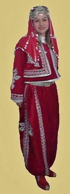Traditional festive costume from the Konya province.  Clothing style: mid-20th century.  This is a recent workshop-made copy, as worn by folk dance groups.