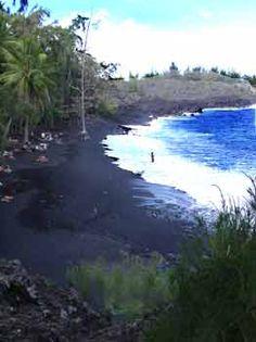 Kahena Black sand beach, on the big island in Hawaii