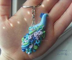 Peacock polymer clay keychain by SweetIva