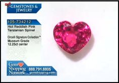 Brilliant hot pink spinel in a heart shape cut