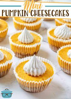 Mini Pumpkin Pies, Homemade Pumpkin Pie, Mini Pumpkins, Pumpkin Recipes, Easy Pumpkin Desserts, Mini Desserts, Fall Desserts, Dessert Recipes, Gf Recipes