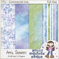 """Sweet Cravings Scraps by Kara: January Rain Blogtrain """"April Showers"""" - CU Full Size Paper Set!"""