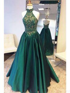 A Line  Halter Lace Bodice Long Prom Dresses Evening  Dresses  #SIMIBridal #promdresses