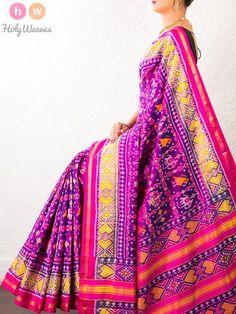 #Blue #Purple #Handwoven #Katan #Silk #Patola #Saree #HolyWeaves