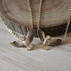Gold Owl Bird Pendant Necklace/ Spread Wings Owl by EwelinaPas