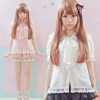 Verão blusa de renda bonito Lolita arco lanterna manga chiffon blusa mulheres Mori japonês Kawaii
