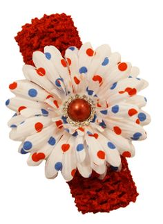 "4"" Daisy Hair Clip on Crochet Headband- Red/White/Blue"