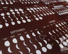 Moon Phase Calendar 2016, Lunar Calendar, 2016, 2015, Moon Calendar, poster