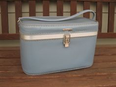 vintage train case -FEATHERLITE- cadet blue- make up -cosmetic case- with mirror - Strap handle - travel case -retro luggage -Sears by oakiesclaptrap on Etsy