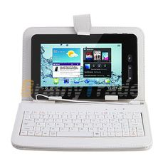 """NEW! 4G 7"""" Google Android 4.0 Touchscreen Tablet WiFi/3G+Leather case & Keyboard"""