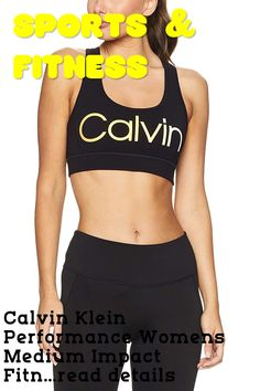 Calvin Klein Performance Womens Medium Impact Fitness Sports Bra Black M #fitnessclothing