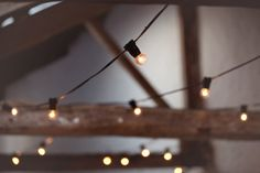 Vintage light bulb strings at Park House Farm Barn, Lake District