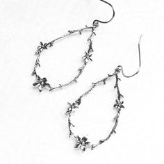 Twig and Flower Earrings Rustic Silver Blossom by apocketofposies