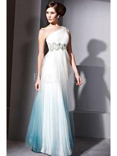 Sheath/Column One Shoulder Floor-length Malay Satin Luxury Evening Dresses