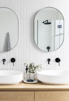 How to add a design statement to your bathroom Boring white bathroom? Make a style statement with the help of these inspiring spaces and our pick of the best design elements, Bad Inspiration, Bathroom Inspiration, Home Decor Inspiration, Decor Ideas, Beautiful Bathrooms, Modern Bathroom, Small Bathroom, White Bathroom Tiles, White Bathrooms