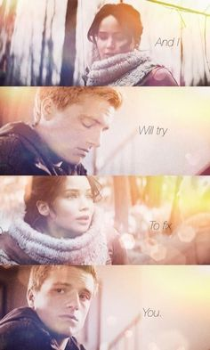 Hunger games _ Peeta and Katniss Hunger Games Memes, Hunger Games Fandom, Hunger Games Catching Fire, Hunger Games Trilogy, Katniss Everdeen, Katniss And Peeta, Fix You Coldplay, Coldplay Songs, Suzanne Collins