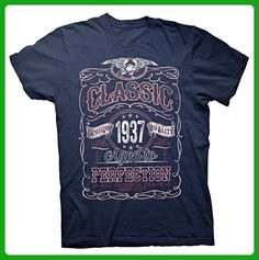 Classic Aged To Perfection 1937 - Distressed Print - 80th Birthday Gift T-shirt  - Navy - Birthday shirts (*Amazon Partner-Link)