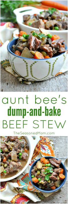 Aunt Bee's Dump and Bake Beef Stew is an easy comfort food dinner that you can throw together in just minutes. Full of nutritious and hearty ingredients, it's a great way to get a meal on the table when you don't have time to cook! Crockpot Recipes, Soup Recipes, Cooking Recipes, Yummy Recipes, Beef Dishes, Food Dishes, Main Dishes, Dump Meals, Freezer Meals