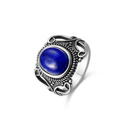 Our Oval Lapis Lazuli Ring 925 Sterling Silver is made with pure 925 Sterling Silver and natural Lapis Lazuli stone in a vintage-inspired design.  Please remember each stone is as unique and as beautiful as you, there will be natural variations in the stones.  Features: 925 Sterling Silver Lapis Lazuli Vintage Free Shipping Bohemian Rings, Be Natural, Lapis Lazuli, Boho Jewelry, Ring Designs, Vintage Inspired, Gemstone Rings, Stones, Pure Products