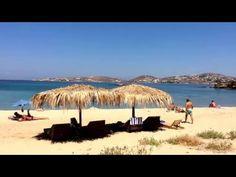 The beach in front of Magaya restaurant. Delphini beach, Paros Island, Greece