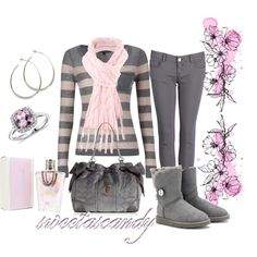 """pink and grey"" by sweetlikecandycane on Polyvore"