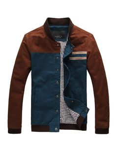 Trendy Stand Collar Jacket with Denim Panel For Men- Jackets & Coats Code: 1318002 - Cheap Wholesale Price - Clothescheap.com