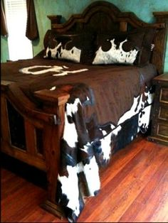 "CUSTOM ""RANCH BRAND"" LEATHER AND COWHIDE BEDSPREAD WITH SHAMS 