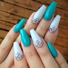 teal-color-nails-long-coffin-shiny-white-rhinestones Great Glitter Nail Art Designs 2018 Nail Art Glitter Nail