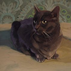 """""""Dragon Cat"""" by Diane Hoeptner  Oil on wood, 10"""" x 10"""" sold"""