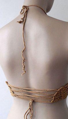 EXPRESS CARGO Crochet Caramel Bikini-Bustier by formalhouse