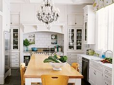 butcher block, white, and chandelier