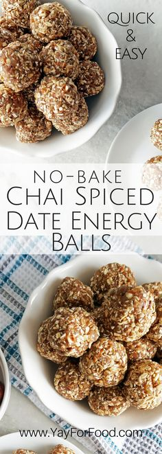 Snack on these tasty, portable chai-spiced Medjool date energy balls with dried peaches, pecans, and rolled oats! No-Bake | Vegan | Vegetarian | Gluten-free | Heathy Snacks | Desserts
