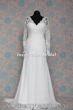 1528 blanc ivoire robe de mariée en dentelle vintage robe de mariée avec manches longues neuf