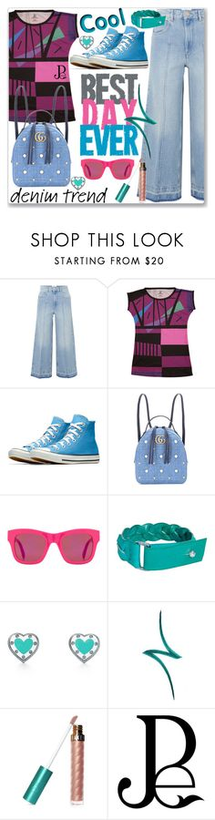 """""""Flare Up: Wide-Leg Jeans (School)"""" by jecakns ❤ liked on Polyvore featuring Étoile Isabel Marant, Gucci, STELLA McCARTNEY, By Terry, Forever 21, denimtrend and widelegjeans"""