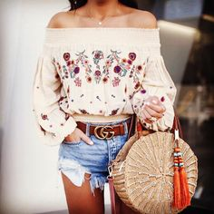 fashion style trends on instagram a lovely embroidery top perfect for day wear shop this look pasaboho com pasaboho