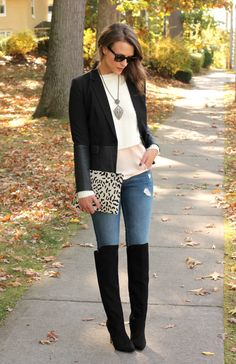 black blazer white crop sweater pink peplum blouse distressed skinny jeans black over the knee boots