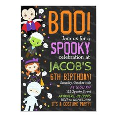 Boo Halloween Birthday Party Invitation , #Ad, #Birthday#Party#Invitation#Shop