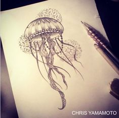 jellyfish sketch tattoo by #chrisyamamoto
