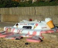 It is so hot today that the ice cream truck melted.