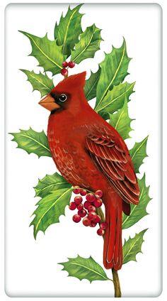 "Red Winter Holly Cardinal 100% Cotton Flour Sack Dish Towel Tea Towel - 30"""" x 30"""" by Designer Mary Lake Thompson"