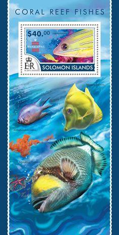 Post stamp Solomon Islands SLM 15209 bCoral Reef fishes (Lutjanus kasmira)