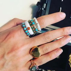 HAPPY FRIDAY from hand because holy geezus these stacking rings are perfection. Leandra Medine, Stacking Rings, Rings For Men, Turquoise, Jewels, Instagram Posts, Stuff To Buy, Beautiful, Mulled Wine