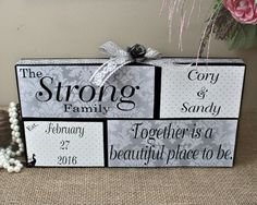 Unique 5th Anniversary Gift, Together Is A Beautiful Place To Be, Wedding Wood Blocks, Bridal Shower Gift, Home Decor Personalized Blocks